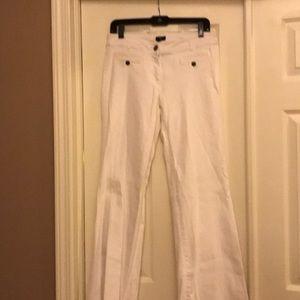 J. Crew white denim flare pants